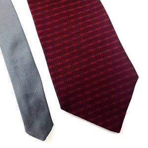 Tommy Hilfiger Red Gray Two Tone Silk Tie Wide Abs